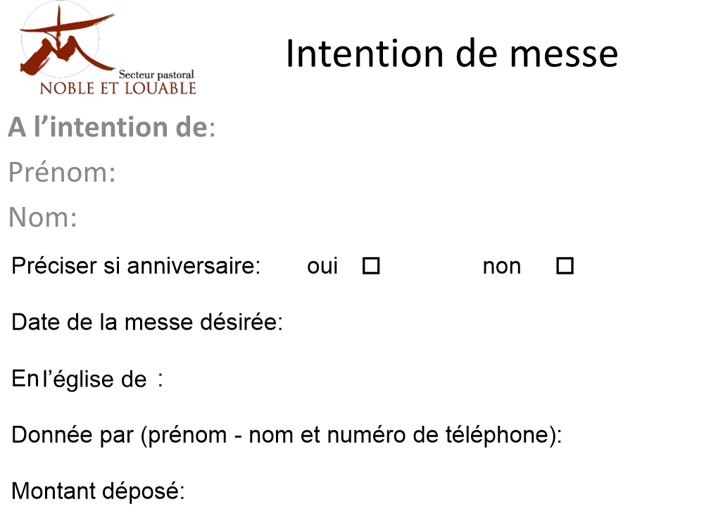 Intention de messe